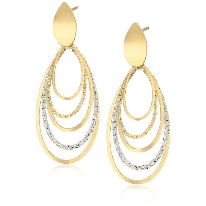 Craze Treesse Italian 10k Yellow And White Gold Oval Tiered Dangle Earrings QUCUQ