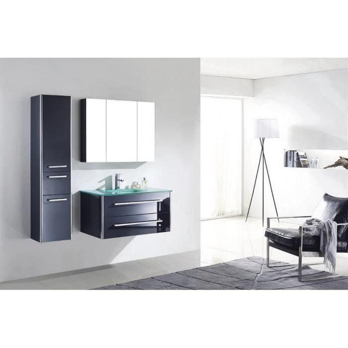Meuble salle de bain simple vasque en verre bois massif gris laqué  rangements divers 88 cm LIA GRIS