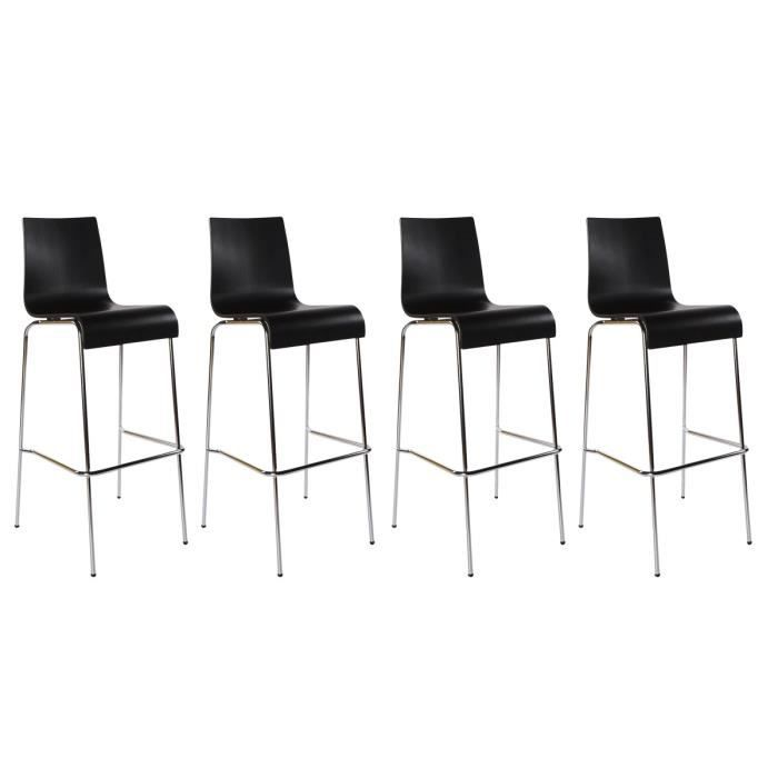 Lot de 4 tabourets de bar forest bois noir achat vente tabouret de bar bo - Lot 4 tabouret de bar ...