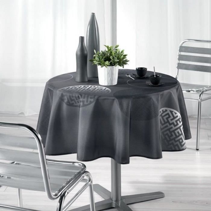 nappe ronde anti tache diam 180 cm kosmo anthracite achat vente nappe de table cdiscount. Black Bedroom Furniture Sets. Home Design Ideas