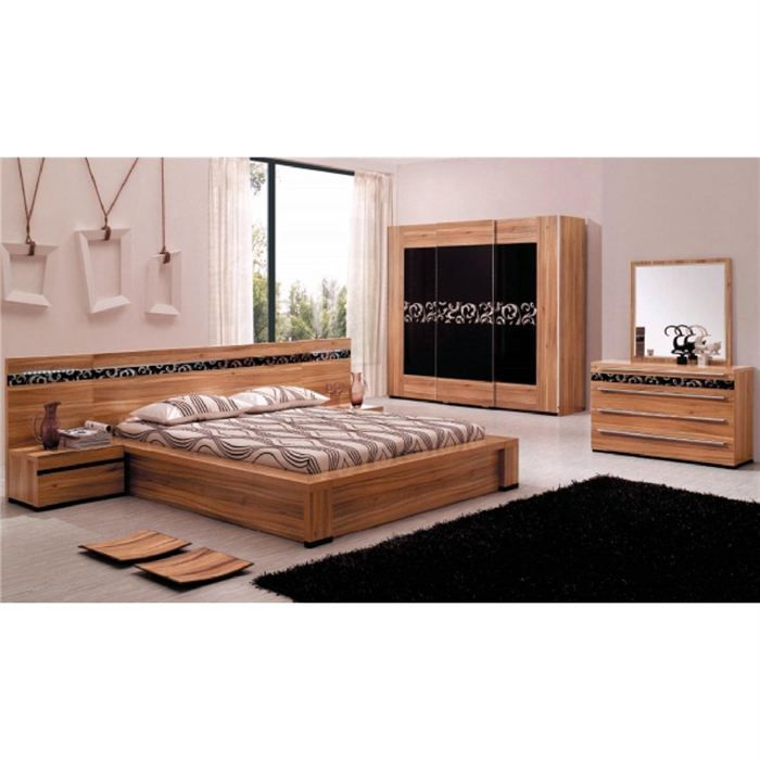 chambre complete design davos bois wengue et noir achat vente lit complet chambre complete. Black Bedroom Furniture Sets. Home Design Ideas