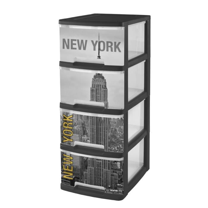 curver new york tour de rangement 4 tiroirs a4 10 l avec roulettes jaune achat vente tiroir. Black Bedroom Furniture Sets. Home Design Ideas
