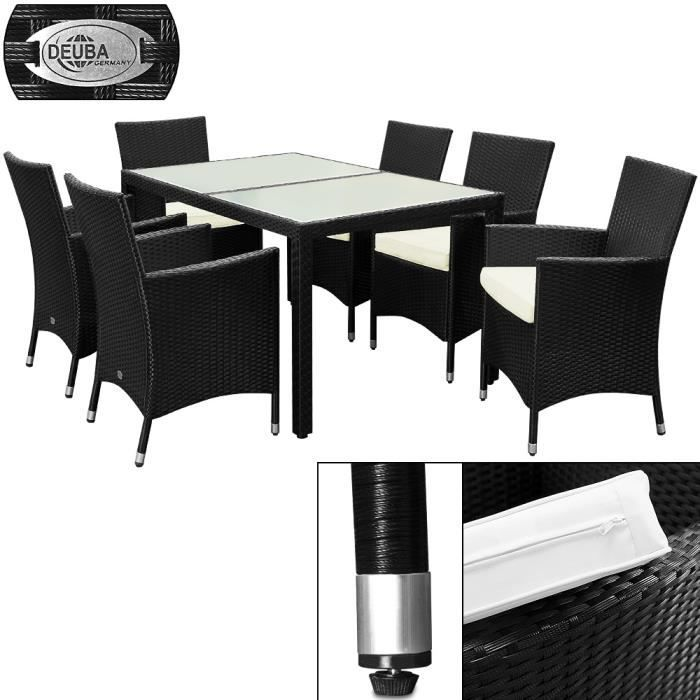 salon de jardin 13 pieces plateau en verre d poli noir achat vente salon de jardin salon. Black Bedroom Furniture Sets. Home Design Ideas