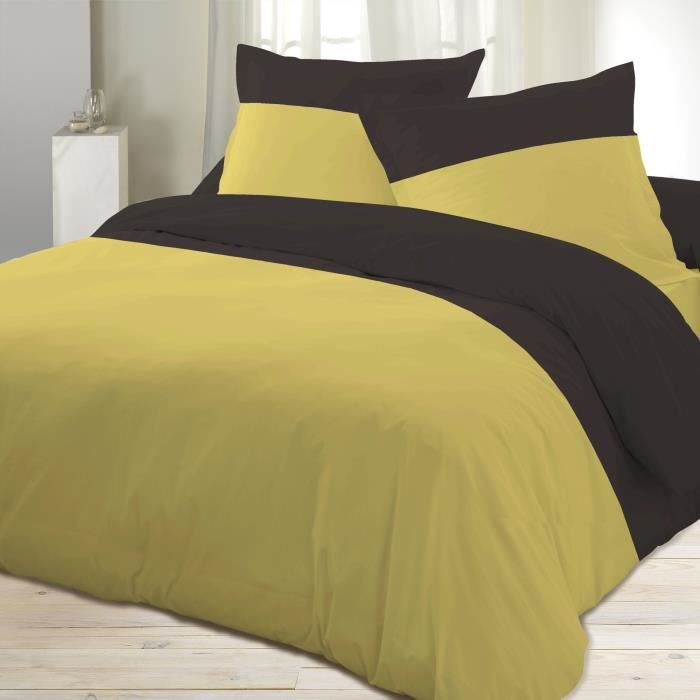 housse couette percale jaune 220 x 240 cm moncornerdeco. Black Bedroom Furniture Sets. Home Design Ideas