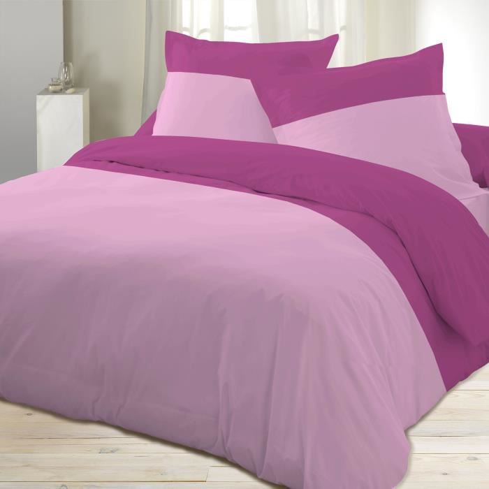 D olivier housse couette percale rose 220x240cm achat for Housse couette 220 x 220