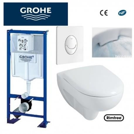 wc suspendu grohe plaque blanche rimfree achat vente wc toilettes wc suspendu grohe. Black Bedroom Furniture Sets. Home Design Ideas