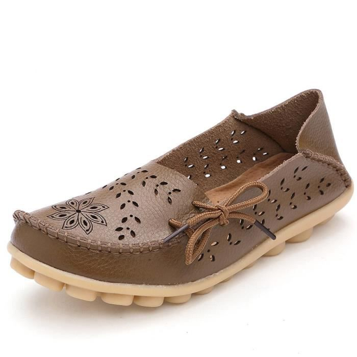Women' S Leather Loafers Casual Moccasin Driving Outdoor Shoes Indoor Flat Slip-on Slippers D8IX3 Taille-37 1-2