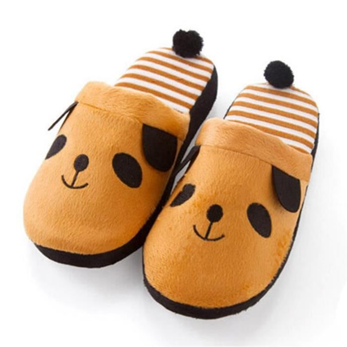 Pantoufles Cartoon Animaux Hiver Chaud Peluche Panda slippers BGD-XZ037Marron38