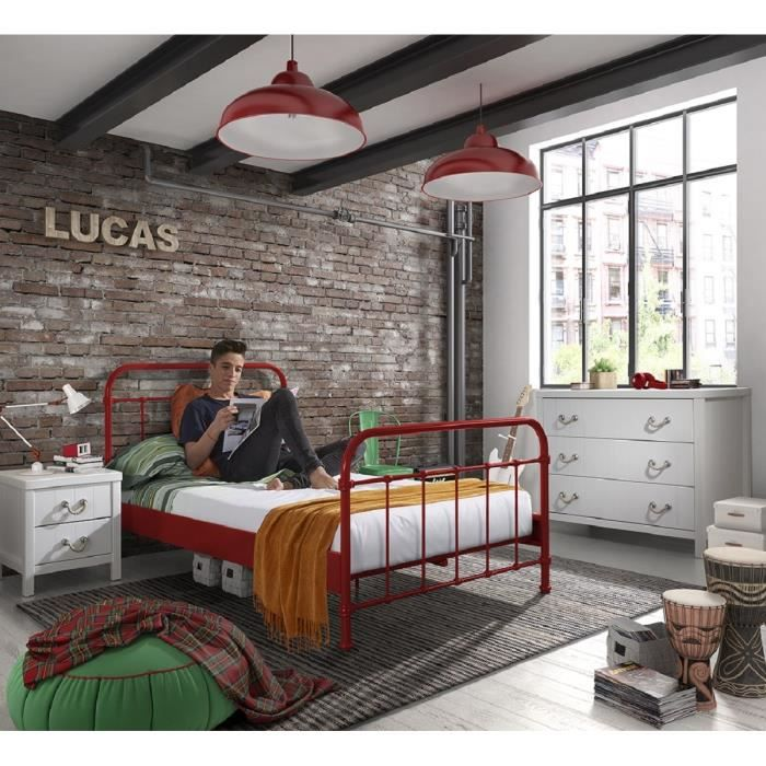 new york lit enfant sommier en m tal 120 x 200 cm rouge laqu achat vente structure de. Black Bedroom Furniture Sets. Home Design Ideas