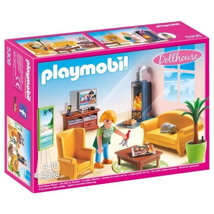 UNIVERS MINIATURE Playmobil 5308 - Salon Avec Poêle à Bois O46ID