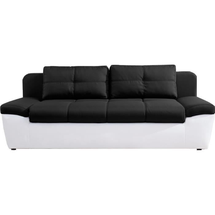 canap convertible 3 places switsofa solo noir pu blanc achat vente canap sofa divan. Black Bedroom Furniture Sets. Home Design Ideas