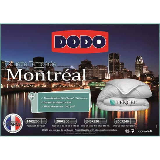Dodo Couette Temperee 300g M Montreal 220x240 Cm Blanc Achat