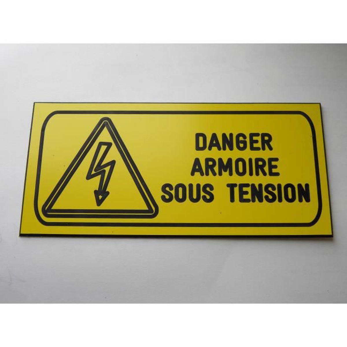"""plaque gravée DANGER ELECTRIQUE /""""SOUS TENSION/""""  SIGNALETIQUE"""