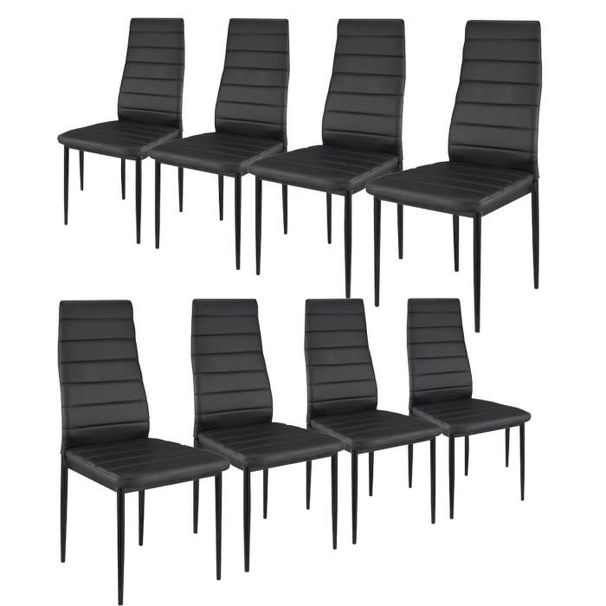 lot de 8 chaises noir achat vente lot de 8 chaises. Black Bedroom Furniture Sets. Home Design Ideas