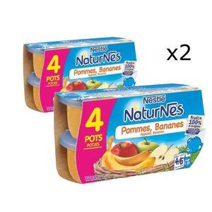 COMPOTE DESSERT FRUITÉ [LOT DE 2] NESTLÉ Naturnes Pommes bananes - 4x130