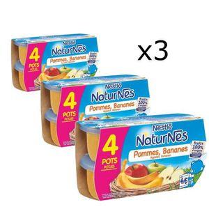 COMPOTE DESSERT FRUITÉ [LOT DE 3] NESTLÉ Naturnes Pommes bananes - 4x130
