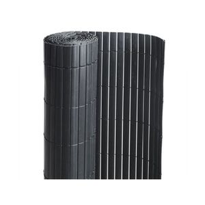 CLÔTURE - GRILLAGE Canisse PVC double face Noir 18 m - 6 rouleaux de