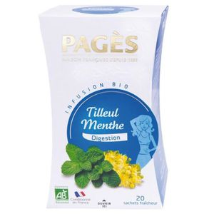 THÉ Pages Infusion Digestion Tilleul Menthe Bio 20 sac