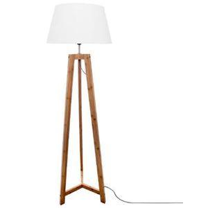 LAMPADAIRE Lampadaire design en bambou coloris naturel et bla