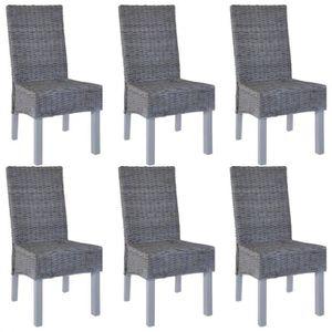 Lot Tissu de VILLOSA 6 grisPieds bois foncé chaises E9IYe2HWD