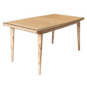 TABLE À MANGER SEULE Table de repas en Corde beige/Bois/Verre - BIAK -