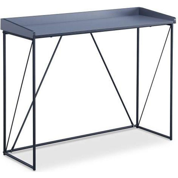 WALTER Console - Contemporain - Métal - Laqué gris et noir - L 100 cm