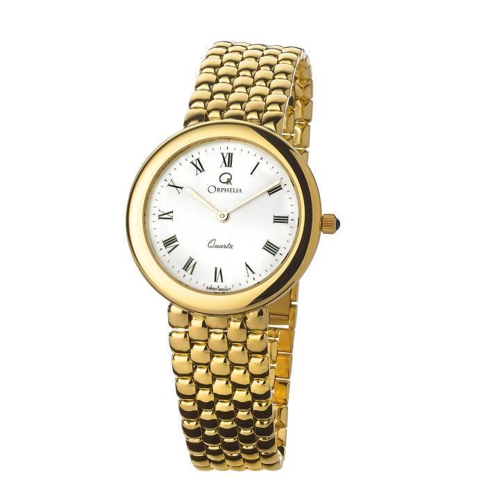 ORPHELIA GOLD WATCHES - Montre Hommes - Quartz - Analogique - Bracelet Or Jaune Doré - MON-7073