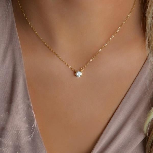 Délicat Petit Diamant Pendentif Élégant Or Solitaire Collier Femmes Bijoux Cadeau_argent
