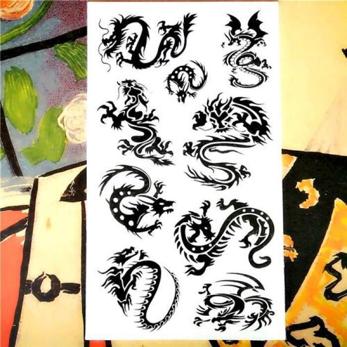 Tatouage Temporaire, Monochrome,Nu-TATY Dragon noir Totem corps Art bras Flash 17*10 cm étanche faux henné indolore