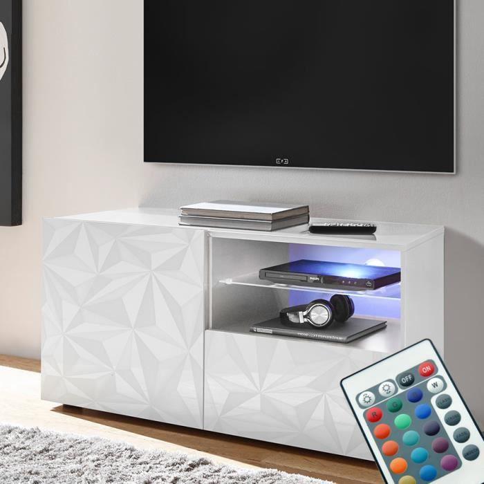 Meuble TV LED 120 cm laqué blanc design PAOLO Blanc L 122 x P 42 x H 57 cm