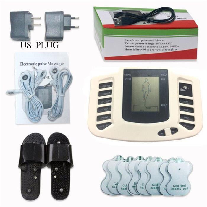 MQUPIN russe bouton pantoufle + 16 pièces électrodes stimulateur musculaire électrique masseur corpo - Modèle: WHITE -