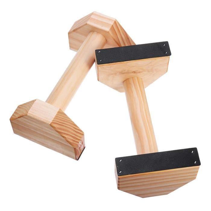 1 paire Parallettes gymnastique Calisthenics barre de support en bois Fitness exercice outils entraînement - ZOAMFWZDA06765