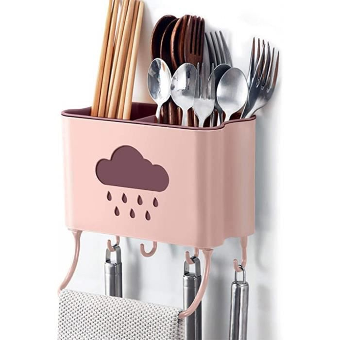 cuisine rangement et organisation boîte mural support de cuisine ustensiles et accessoires (rose)