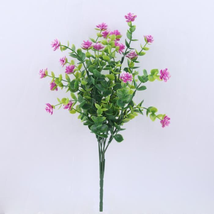 Mini plantes artificielles plastique rose rouge, Fausses fleurs décoratives pour extérieur, feuilles vertes, décoration - 5