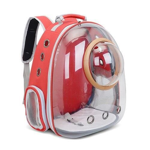 Sac de transport,Sac à dos de chat mode respirant Transparent sac de transport pour animaux de compagnie pour chiot chat - Type Red