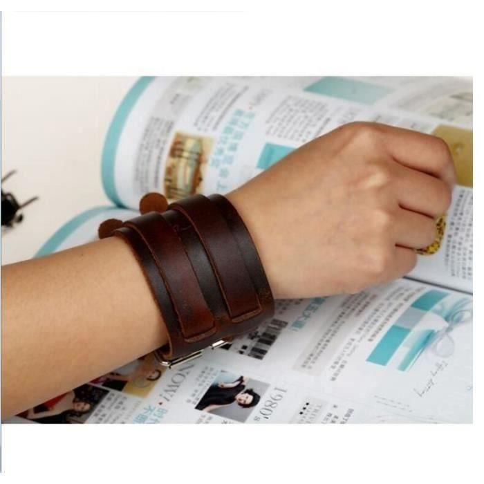 Bracelet Cuir Force Double marron