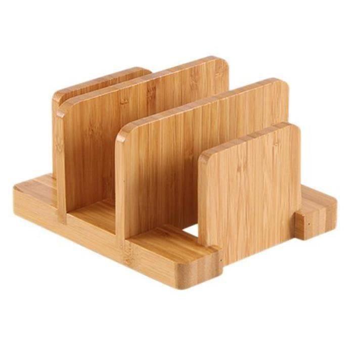 Support De Rangement Pour Planche À Découper En Bambou Créatif Durable Multifonctionnel Support De Couvercles De Pot Gadgets