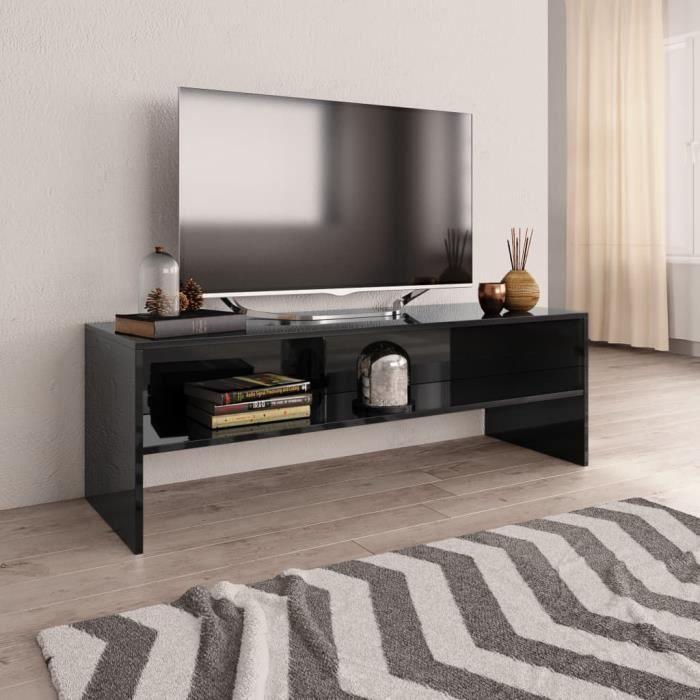 Meuble TV Noir brillant 120 x 40 x 40 cm Aggloméré HB056