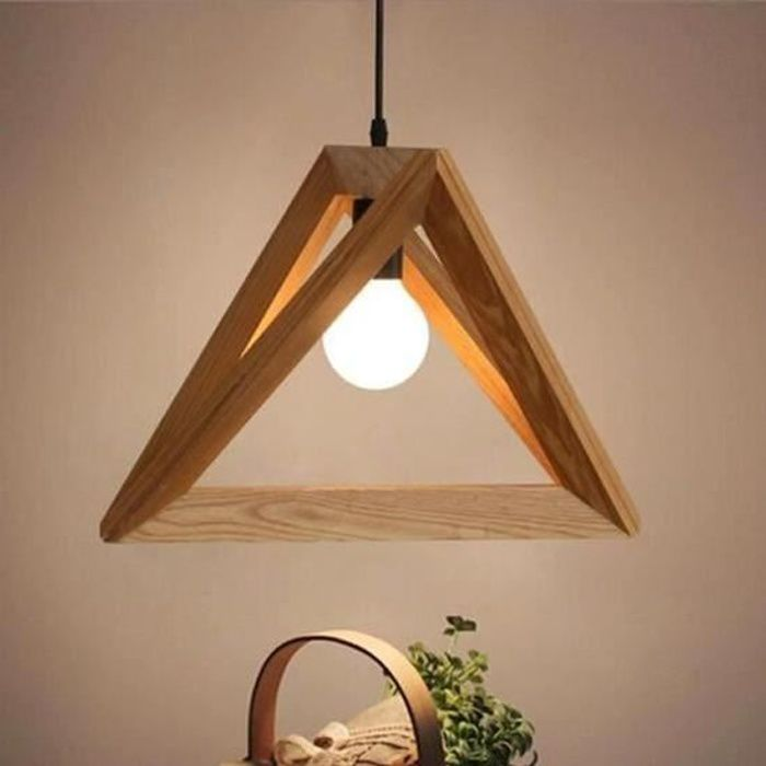Suspension Luminaire forme Triangle Design en Bois 32cm 110-220V Vintage Lustre Corde Ajustable Décor Salle à Manger Chambre