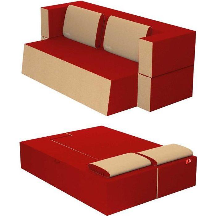 Canapé Lit Praticho Convertible Modulable Réversible 2 places -Tissu dehoussable et lavable Couleur Rouge Cardinal