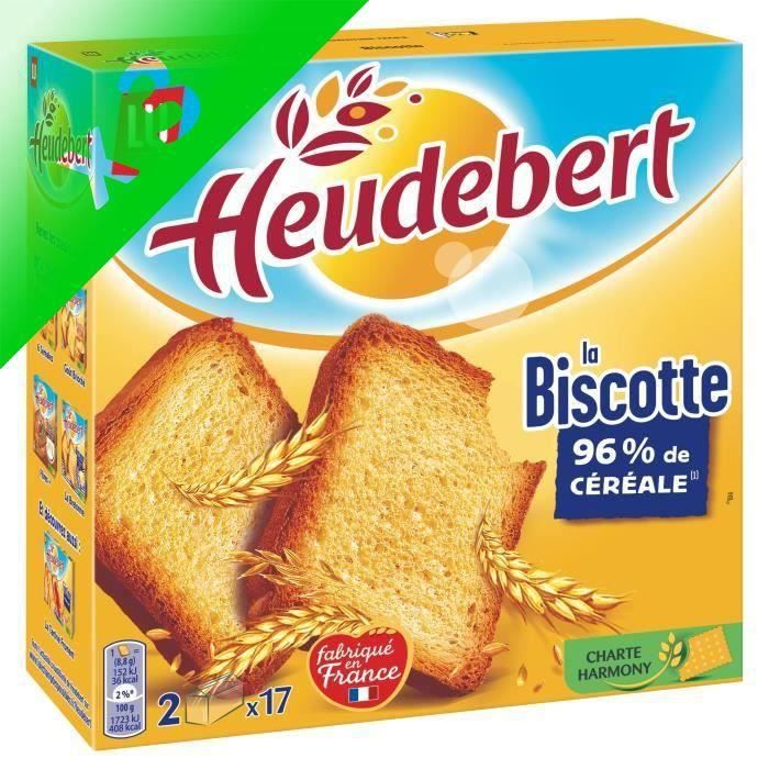 [LOT DE 3] Heudebert Nature 34 biscottes 300g