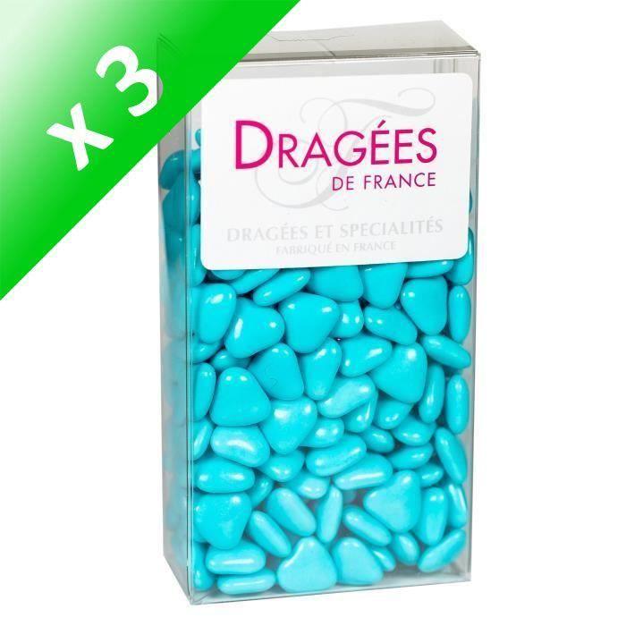 [LOT DE 3] DRAGEES DE France - Petits Cœurs Chocolat - Caraibes 250G