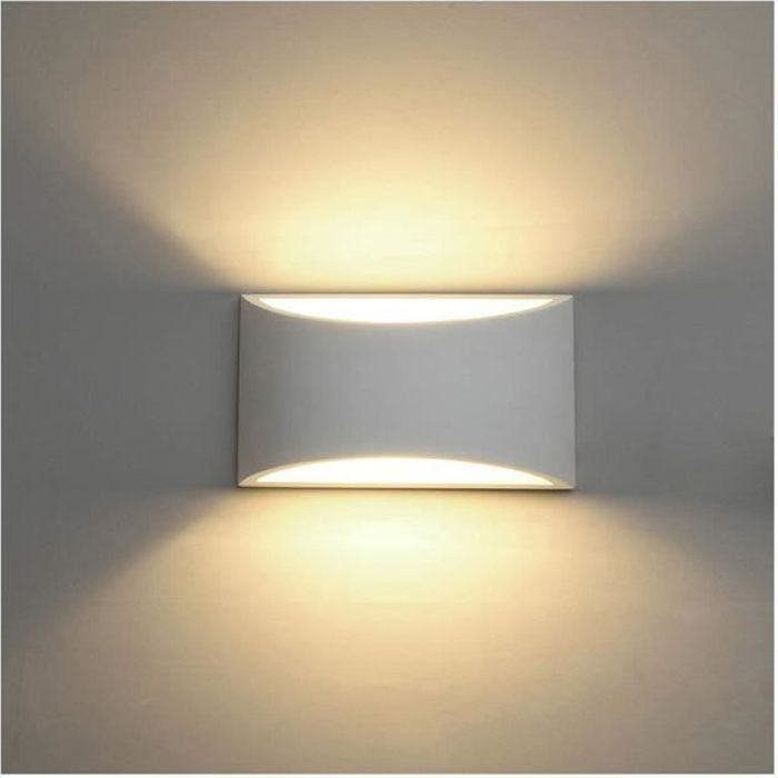 Appliques Murales Interieur, Blanc Lampe Murale LED 7W Blanc Chaud Applique Murale en Plâtre pour Chambre Maison Couloir Salon