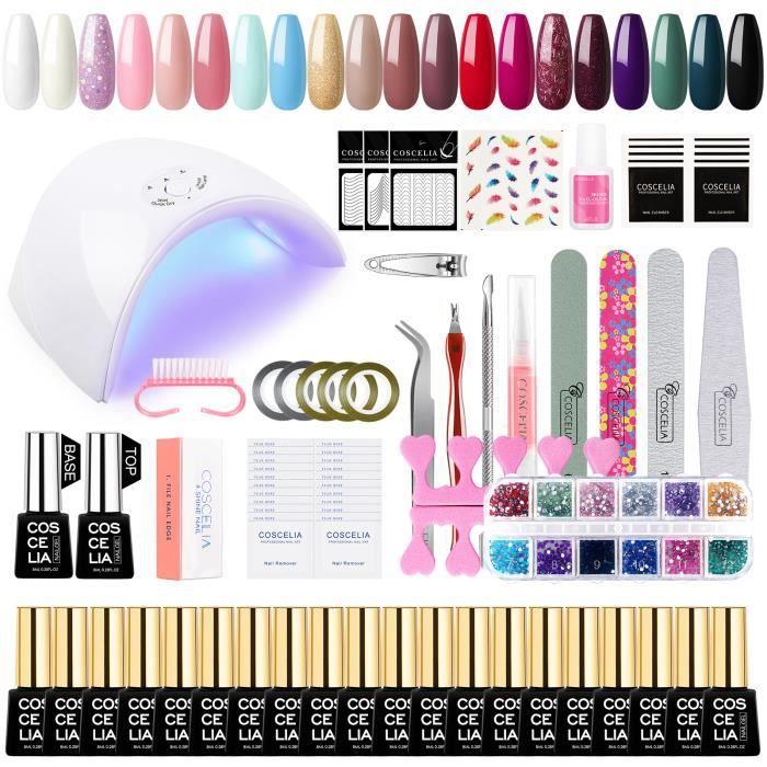 Coscelia Kit Poudre Paillettes Acrylique Gel UV Base Primer Top Coat Faux Ongles Manucure Décor Ongle Kit Accessoires Outils Nail