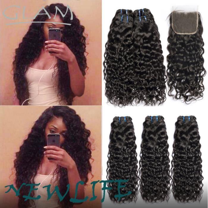 3 tissage pièces Mèches de cheveux humains vierge péruvienne water wave 10 pouces avec closure 8 pouces