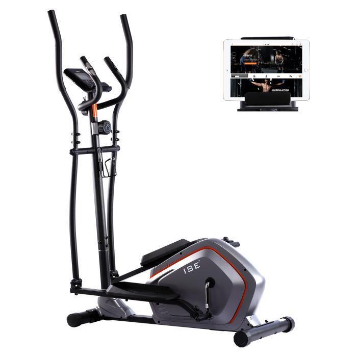 ISE Vélo elliptique magnétique - Vélo d'appartement Crosstrainer - Pouls à la main - Masse d'inertie 5kg - 8 Niveaux de Résistance