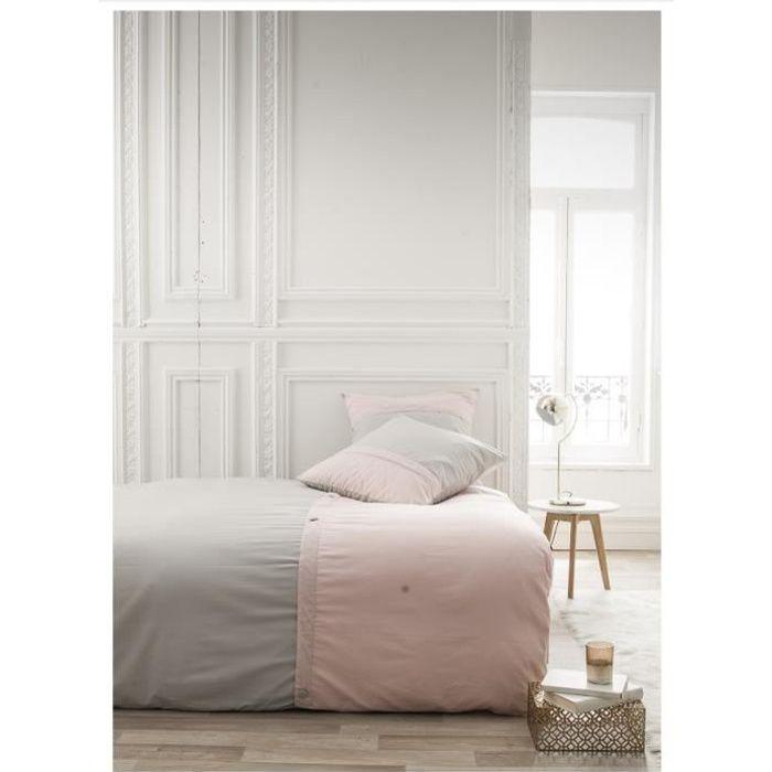 Parure de lit 220X240 2 personnes Percale bicolore gris PREMIUM