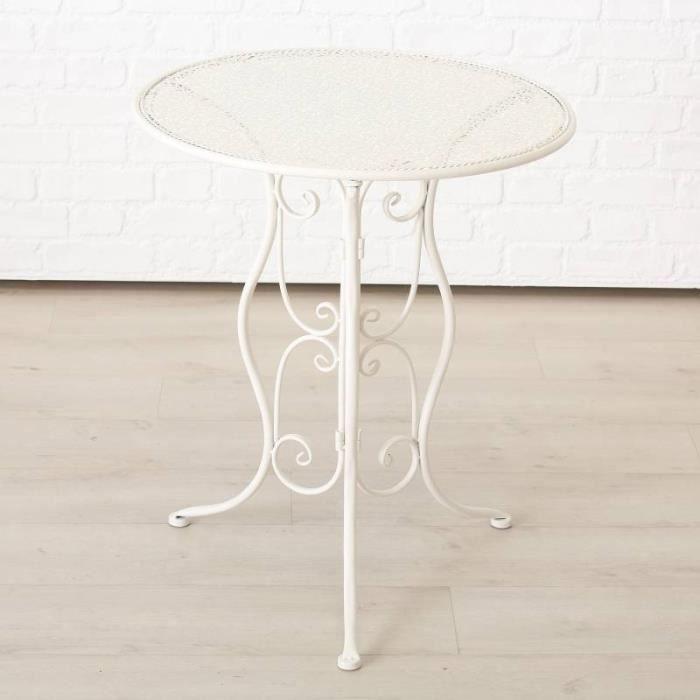 Salon de Jardin Salon de Thé 2 Places Personnes Table Bistrot et 2 Chaises Pliantes en Fer Blanc 70