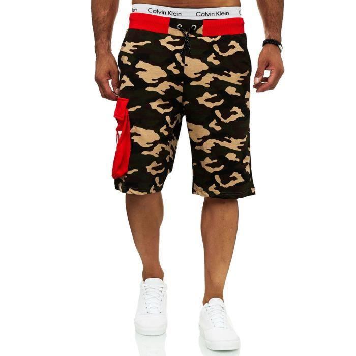Short camouflage pour homme Short 12141 Vert, rouge