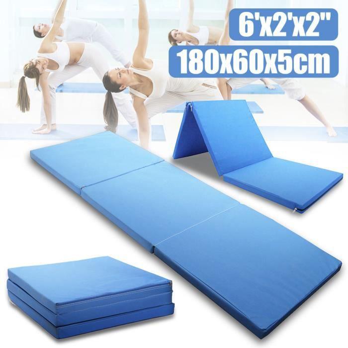 NEUFU Tapis Sol Gymnastique Fitness Yoga Sport Pliable Aerobic Exercice 180x60x5cm